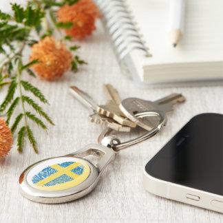 Swedish touch fingerprint flag key ring