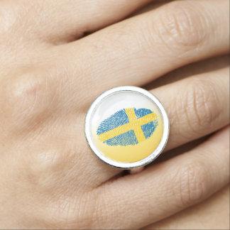 Swedish touch fingerprint flag ring