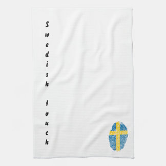 Swedish touch fingerprint flag tea towel