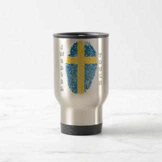 Swedish touch fingerprint flag travel mug