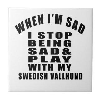 SWEDISH VALLHUND Designs Small Square Tile