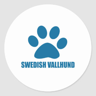 SWEDISH VALLHUND DOG DESIGNS CLASSIC ROUND STICKER