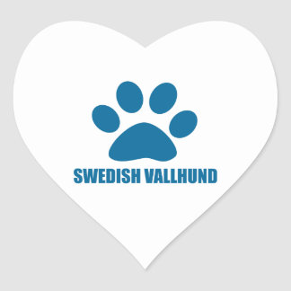 SWEDISH VALLHUND DOG DESIGNS HEART STICKER