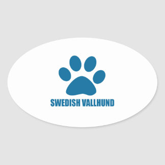 SWEDISH VALLHUND DOG DESIGNS OVAL STICKER