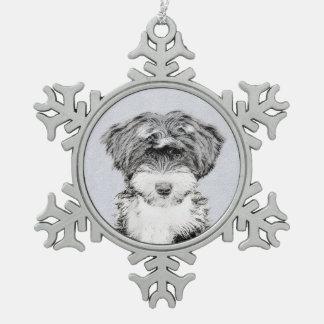 Swedish Vallhund Painting - Cute Original Dog Art Snowflake Pewter Christmas Ornament