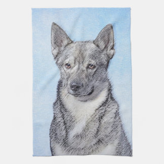 Swedish Vallhund Painting - Cute Original Dog Art Tea Towel