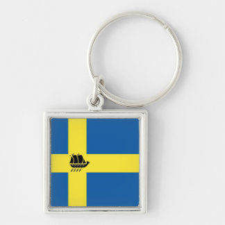 Swedish Viking Ship with Flag of Sweden Silver-Colored Square Key Ring