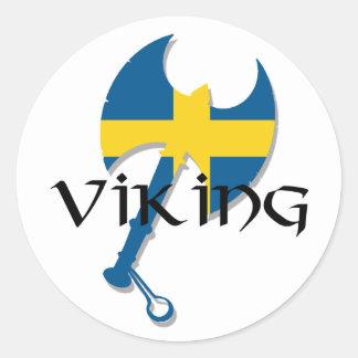 Swedish Viking Sweden flag Axe Classic Round Sticker