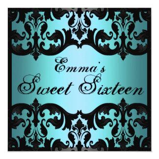 Sweet16 Blue Elegant Damask Birthday Invite