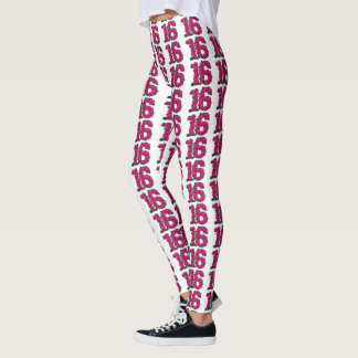 Sweet16 leggings 16th birthday cute pink roses