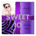 Sweet 10 10th Birthday Zebra Cow Purple Black 13 Cm X 13 Cm Square Invitation Card