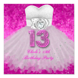 Sweet 13 13th Birthday Party Girls Hot Pink 13 Cm X 13 Cm Square Invitation Card