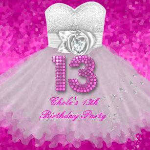 13th birthday invitations zazzle sweet 13 13th birthday party girls hot pink invitation filmwisefo