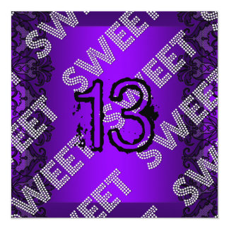 Sweet 13 13th birthday Purple Black Lace Grunge Card