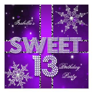 Sweet 13 13th Birthday Purple Winter Wonderland 13 Cm X 13 Cm Square Invitation Card