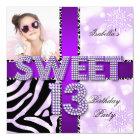 Sweet 13 13th Birthday Zebra Cow Purple Black Card