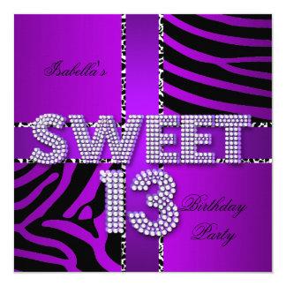 Sweet 13 13th Birthday Zebra Cow Purple Black 13 Cm X 13 Cm Square Invitation Card