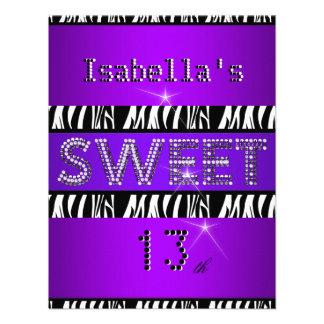 Sweet 13 13th Birthday Zebra Purple Black Invite