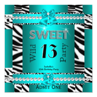 """Sweet 13 Fun Party Zebra Teal Blue Ticket 3S 5.25"""" Square Invitation Card"""