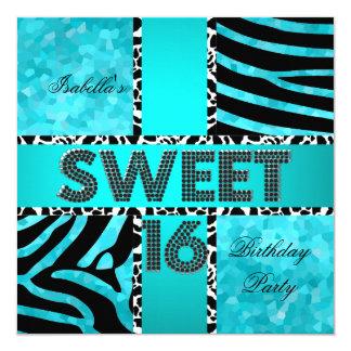 Sweet 16 16th Birthday Zebra Cow Teal Black Card