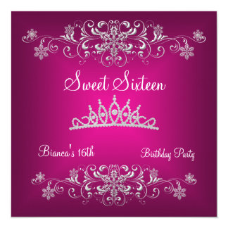 Sweet 16 16th Pink Silver Diamond Tiara Card