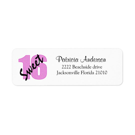 Sweet 16 Address Labels