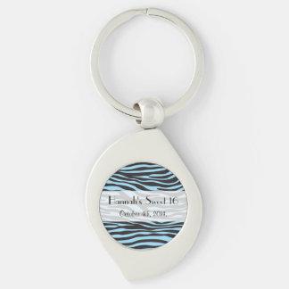 Sweet 16 - Animal Print, Zebra Stripes - Blue Key Ring