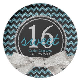 Sweet 16 Aqua Chevron Pattern Plate