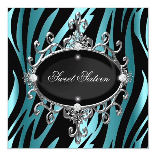 Sweet 16 Birthday Blue Zebra Black Stripe Card