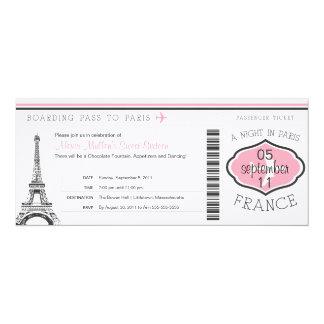 Sweet 16 Birthday Boarding Pass to Paris Card