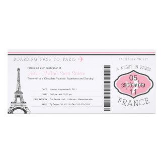 Sweet 16 Birthday Boarding Pass to Paris Invitations