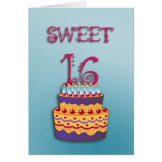 Sweet 16 Birthday Cake card