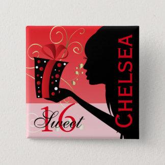 Sweet 16 Birthday Girl 15 Cm Square Badge