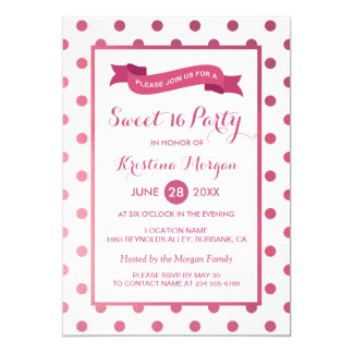 Sweet 16 Birthday Girly Pink Glitter Polk Dots Card