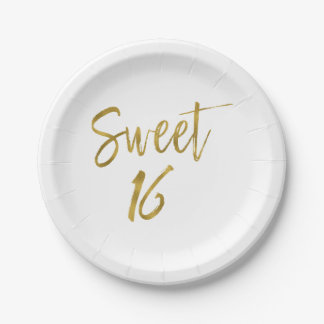 Sweet 16 Birthday Gold Foil Paper Plate