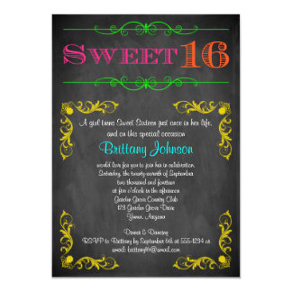 Sweet 16 Birthday Invitation | Neon Chalkboard