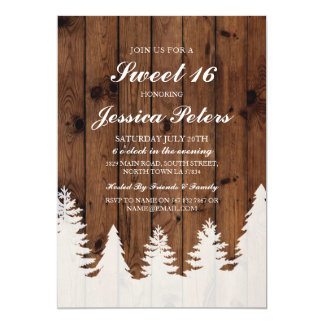 Sweet 16 Birthday Lights Rustic Wood Trees Invite