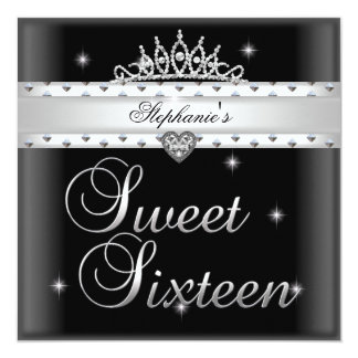 Sweet 16 Birthday Party Black White Tiara Card