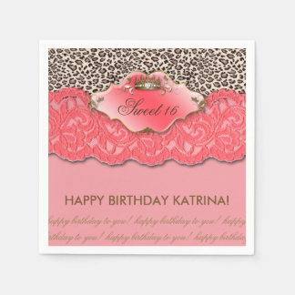 Sweet 16 Birthday Party Crown Leopard Coral Disposable Napkins