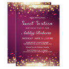 Sweet 16 Birthday Party Gold Shimmer Sparkles Card