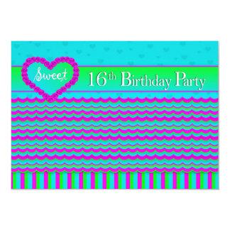 SWEET 16 BIRTHDAY PARTY INVITATION -ABSTRACT/HEART