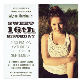 Sweet 16  Birthday Party Outdoor Portrait Photo 13 Cm X 13 Cm Square Invitation Card