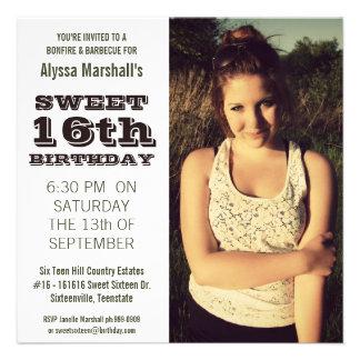 Sweet 16 Birthday Party Outdoor Portrait Photo Invitations