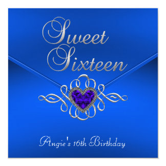 Sweet 16 Birthday Party Royal Blue Gem Velvet Card