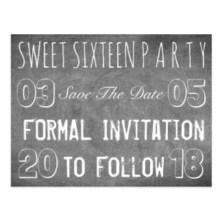 Sweet 16 Birthday Party Save The Date Chalkboard Postcard
