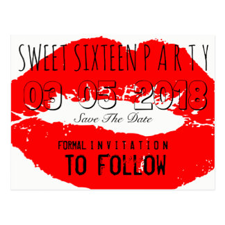Sweet 16 Birthday Party Save The Date Red Lips Postcard