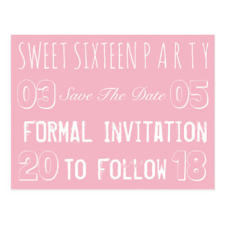 Sweet 16 Birthday Party Save The Date Soft Pink Postcard
