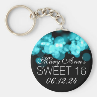 Sweet 16 Birthday Party Turquoise Bokeh Lights Key Ring