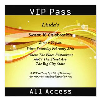 Sweet 16 Birthday Party VIP pass Disco 13 Cm X 13 Cm Square Invitation Card