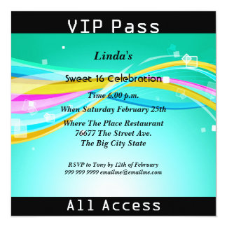 "Sweet 16 Birthday Party VIP pass Disco 2 5.25"" Square Invitation Card"